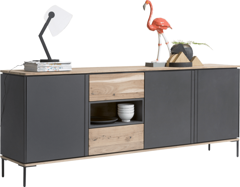 XOOON - Lanai - Industrie - sideboard 220 cm - 3-tueren + 2-laden + 1-nische (+ led)