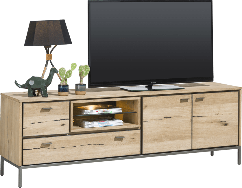 XOOON - Faneur - Scandinavisch design - lowboard 170 cm - 2-deuren + 2-laden + 2-niches (+ led)
