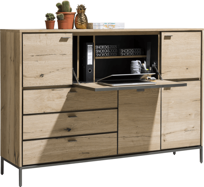 XOOON - Faneur - Scandinavian design - dressette 170 cm - 4-doors + 3-drawers + 1-fall front (+ led)