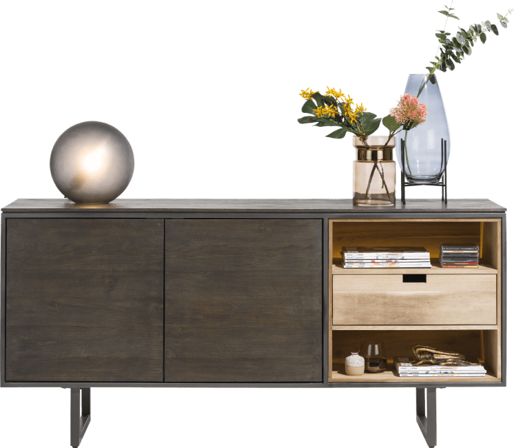 XOOON - Moniz - Minimalistic design - sideboard 170 cm - 2-doors + 2-niches + 1 reversible drawer (+ led)