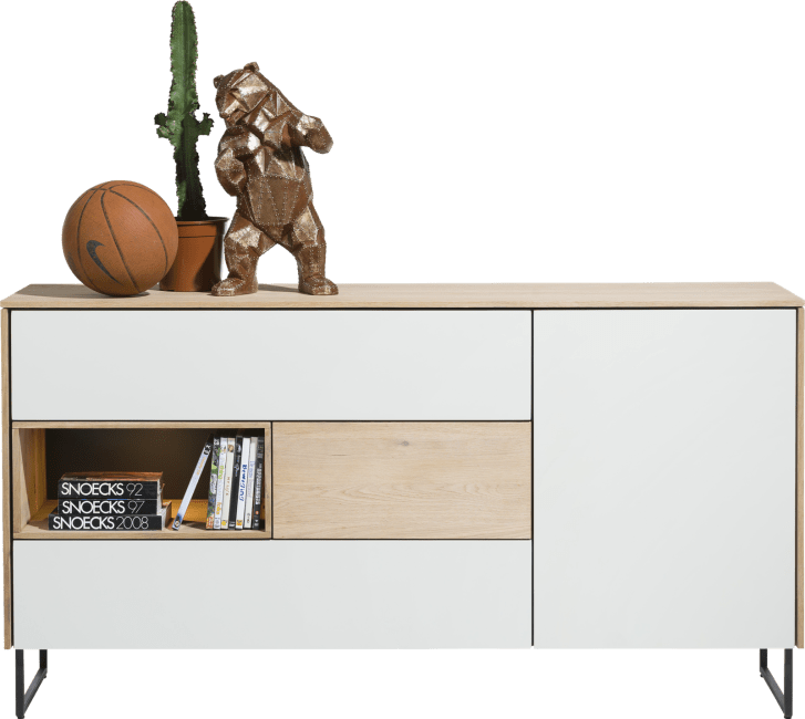XOOON - Darwin - Minimalistisch design - dressoir 1-deur + 3-laden + 1-niche - 160 cm (+ led)
