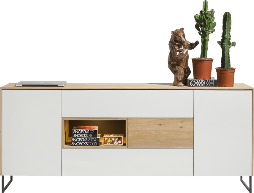 XOOON - Darwin - Minimalistisches Design - sideboard 2-tueren + 3-laden + 1-nische - 200 cm (+ led)