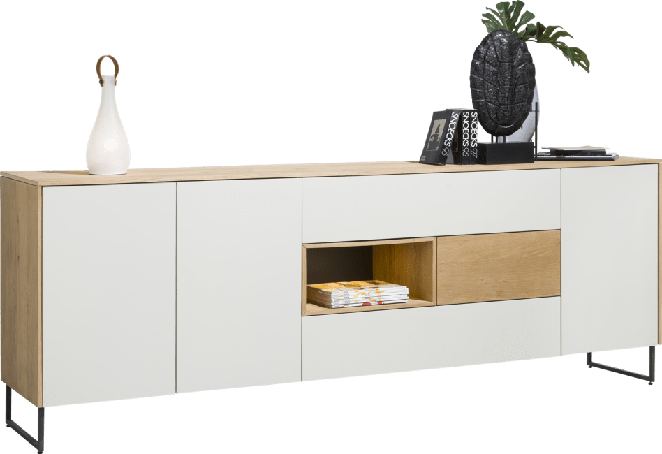 XOOON - Darwin - Minimalistisch design - dressoir 3-deuren + 3-laden + 1-niche - 240 cm (+ led)