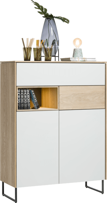 XOOON - Darwin - Minimalistisches Design - highboard 2-tueren + 2-laden + 1-nische - 100 cm (+ led)