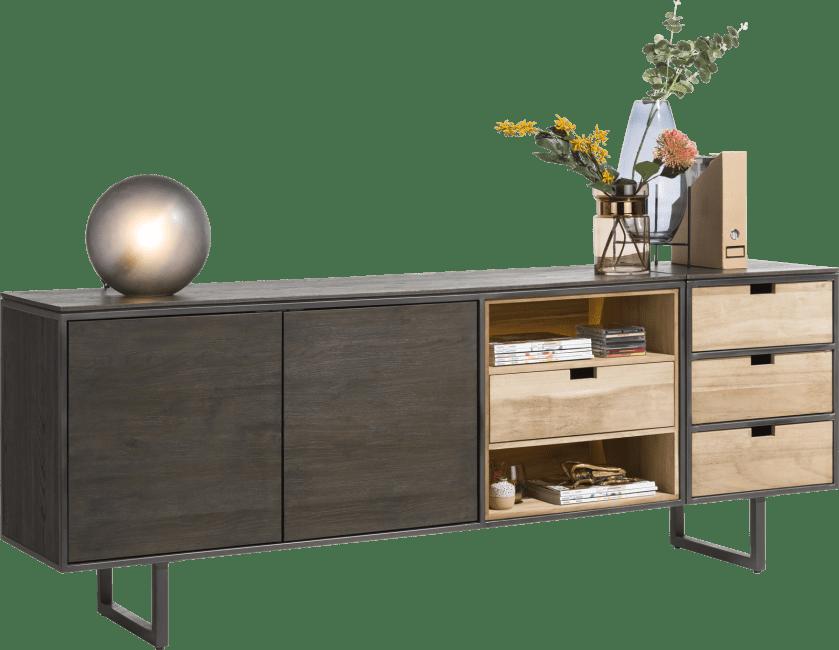 XOOON - Moniz - Minimalistisches Design - sideboard 170 cm - 2-tueren + 2-nischen + 1 umdrehbare lade (+ led)