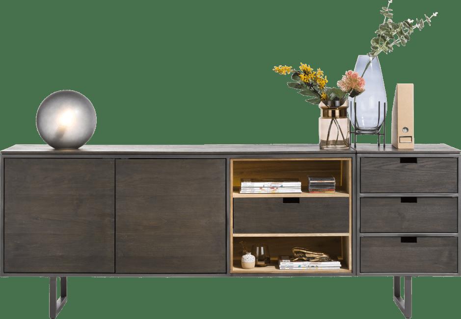 XOOON - Moniz - Minimalistisch design - dressoir 170 cm - 2-deuren + 2-niches + 1 omkeerbare lade (+ led)