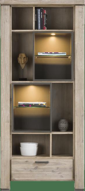 Happy@Home - Coiba - Modern - boekenkast 1-lade + 10-niches (+ led)