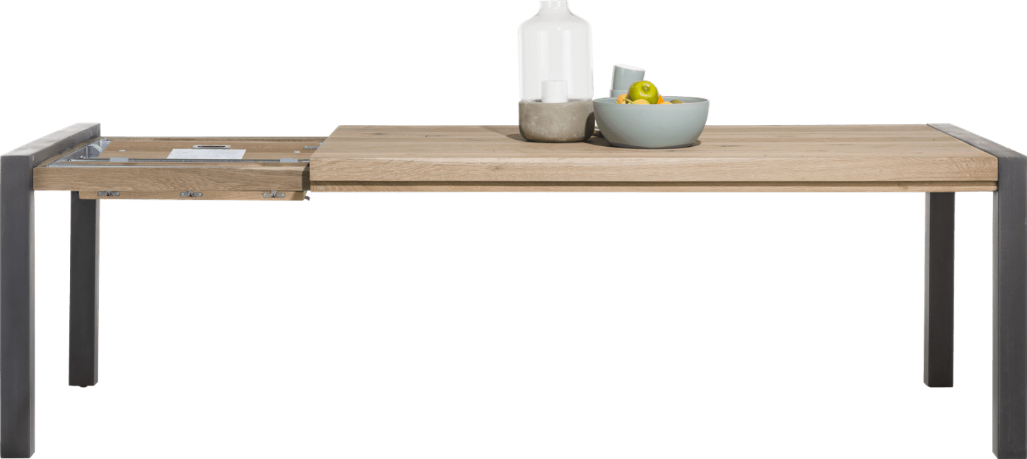 Happy@Home - Brooklyn - Industrieel - uitschuiftafel 190 (+ 60 cm) x 100 cm - metalen u-poot