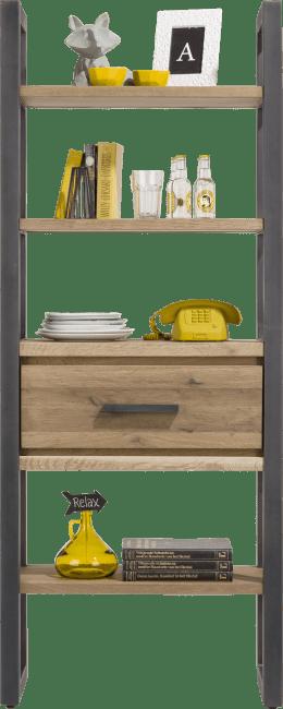 Happy@Home - Brooklyn - Industrieel - boekenkast 75 cm - 1-lade + 5-niches