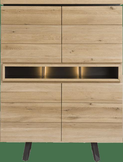 Happy@Home - Larissa - Natuurlijk - highboard 110 cm - 4-deuren + 3-niches (+ led)