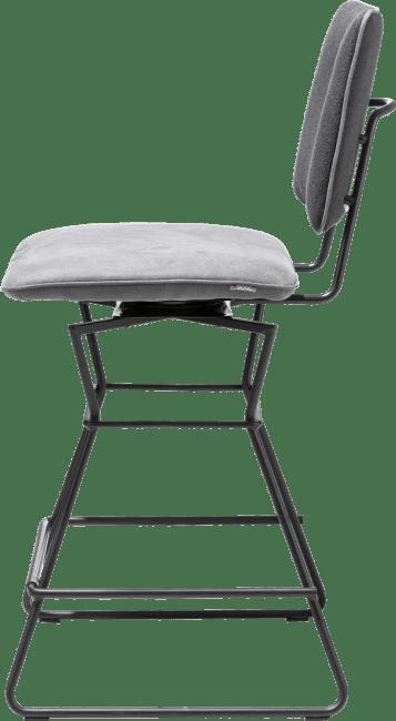 XOOON - Otis - design Scandinave - chaise bar - cadre noir - combi kibo anthracite / lady avec passepoil kibo anthracite