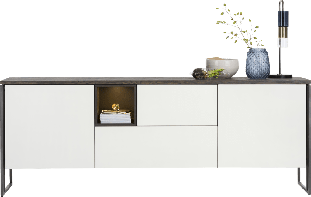 XOOON - Glasgow - Minimalistisches Design - sideboard 230 cm - 2-tueren + 2-laden + 1-nische (+ led)