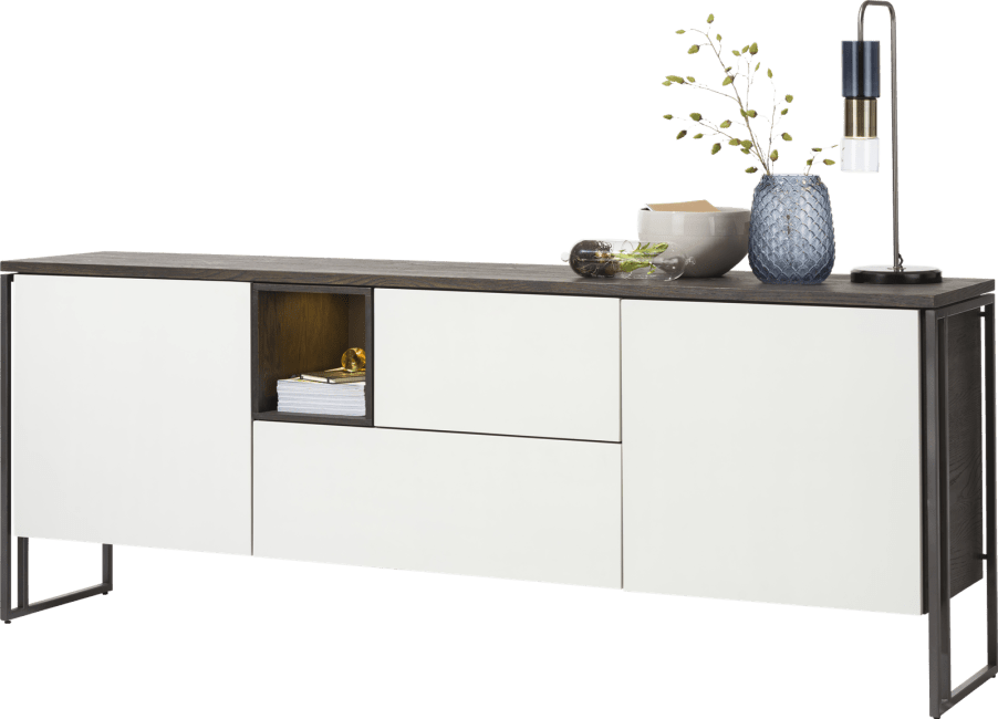 XOOON - Glasgow - Minimalistisch design - dressoir 230 cm - 2-deuren + 2-laden + 1-niche (+ led)