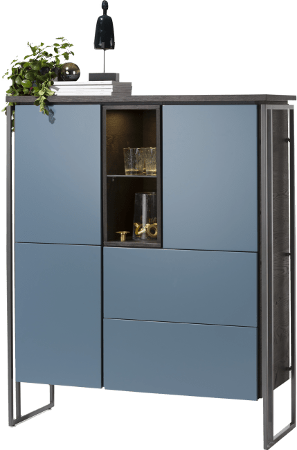 XOOON - Glasgow - Minimalistic design - highboard 115 cm - 3-doors + 2-drawers + 2-niches (+ led)