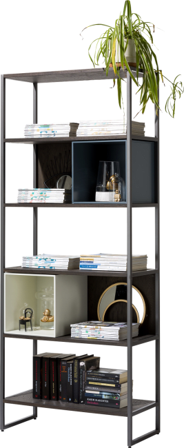 XOOON - Glasgow - Minimalistic design - bookcase 80 cm - 5-niches
