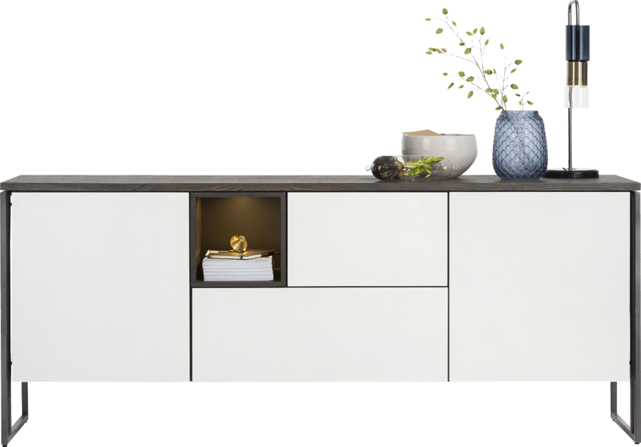 XOOON - Glasgow - Minimalistisch design - dressoir 190 cm - 2-deuren + 2-laden + 1-niche  (+ led)