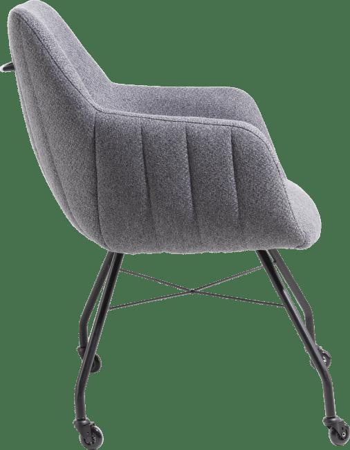 XOOON - Liv - fauteuil - cadre off black + avec roulettes + poignee - tissu ponti