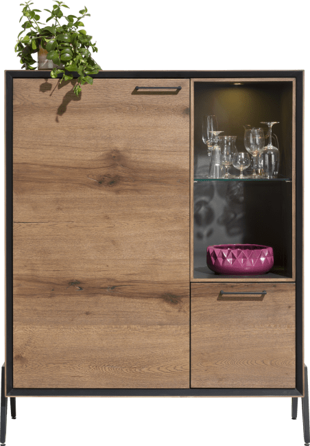 Happy@Home - Janella - Modern - highboard 110 cm - 1-deur + 1-lade + 2-niches ( +led)