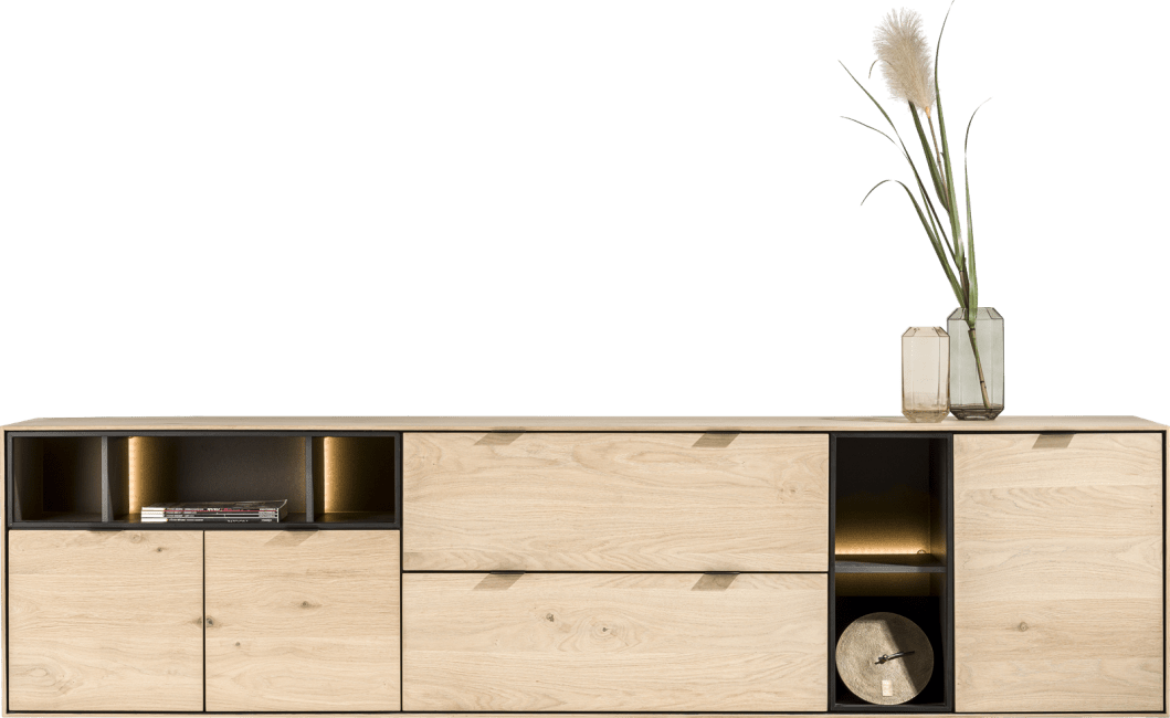 XOOON - Elements - Minimalistisches Design - sideboard 240 cm. - 3-tueren + 2-laden + 5-nischen + led