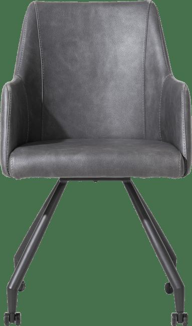 XOOON - Giuliette - Design minimaliste - fauteuil 4 pieds + roulettes - noir - tissu pala