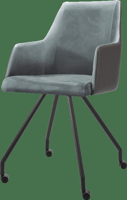 XOOON - Giuliette - Minimalistisch design - armstoel 4-pootjes + wielen - zwart