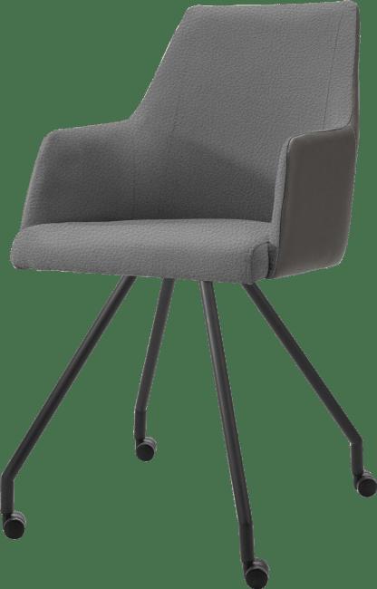 XOOON - Giuliano - Design minimaliste - fauteuil 4-pieds + roulettes - noir