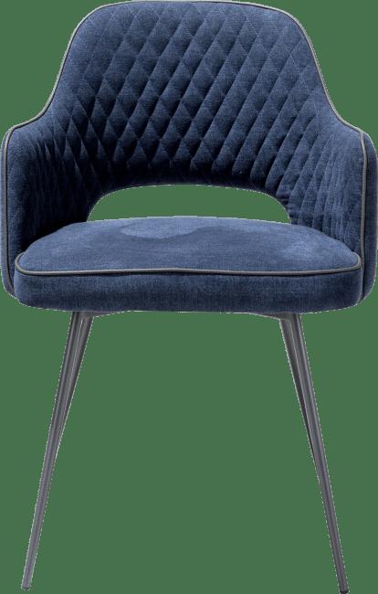 XOOON - Benton - Scandinavisch design - armstoel met grafiet frame - stof monta met piping tatra antraciet
