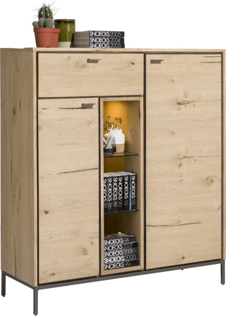 XOOON - Faneur - Skandinavisches Design - highboard 125 cm - 2-tueren + 1-lade + 3-nischen (+ led)