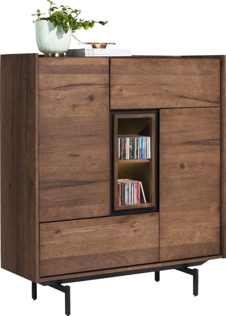 XOOON - Halmstad - Scandinavisch design - highboard 120 cm - 2-deuren + 2-laden + 2-niches