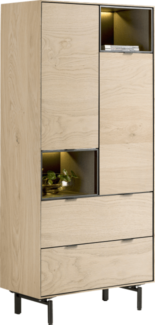 XOOON - Elements - Minimalistisches Design - schrank 90 cm. - 2-tueren + 2-laden + 2-nischen + led