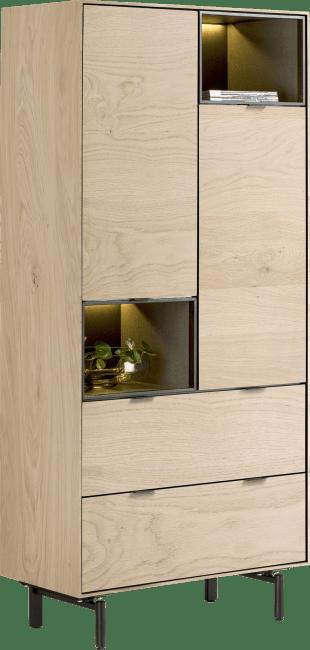 XOOON - Elements - Minimalistisches Design - schrank 90 cm. - 2-tueren + 2-laden + 2-nischen + led