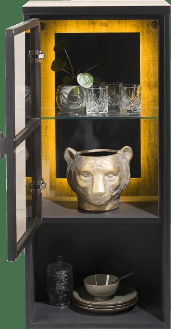 Henders and Hazel - Avalon - Industrieel - hang- en staand mogelijk - element 45 cm. - 1-glasdeur +1-niche (+ led)
