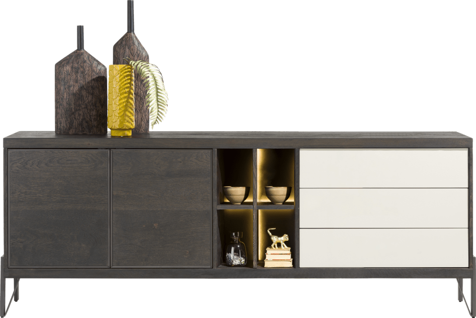 Henders and Hazel - Montpellier - Modern - dressoir 240 cm - 2-deuren + 3-laden + 4-niches (+ led)