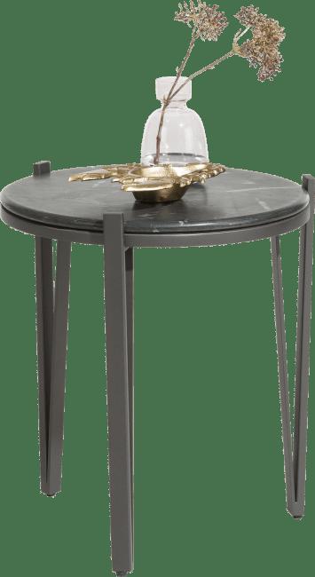 Henders and Hazel - Montpellier - Modern - bijzettafel rond - diameter 40 cm - zwart marmer