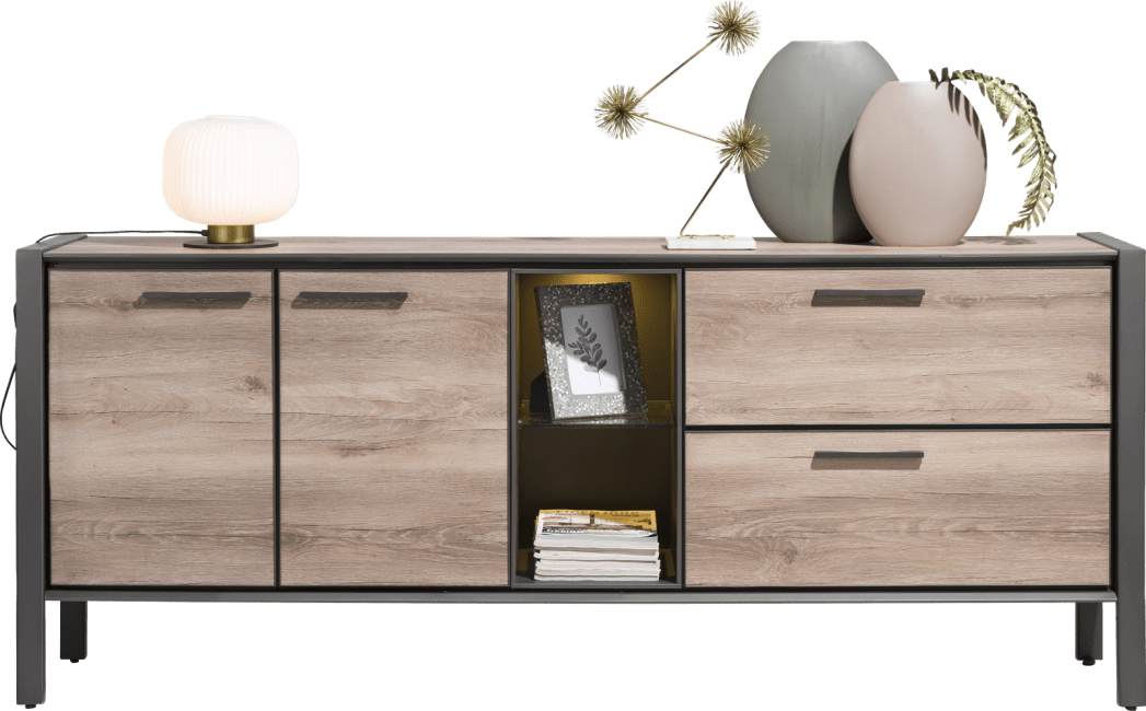 H&H - Copenhagen - Moderne - buffet 210 cm - 2-portes + 2-tiroirs + 2-niches (+ led)