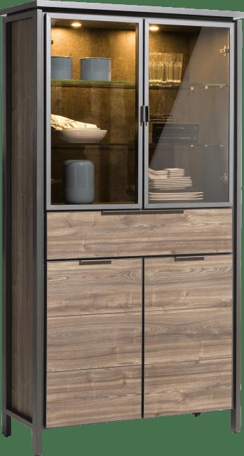 Happy@Home - Madeira - Modern - vitrine 100 cm - 2-glasdeuren + 2-deuren + 1-lade (+ led)