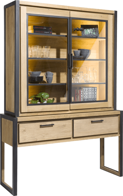 Henders and Hazel - Metalo - Industrie - buffet 140 cm - 2-glastueren (+ led) + 2-laden