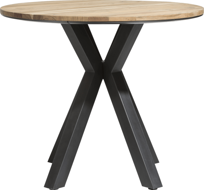 XOOON - Colombo - Industriel - table de bar ronde 110 cm - chene massif + mdf