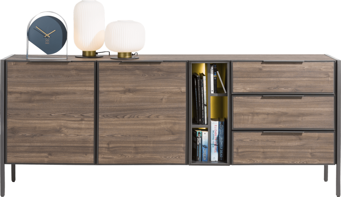 XOOON - Domani - Industrie - sideboard 210 cm - 2-tueren + 3-laden + 4-nischen (+ led)
