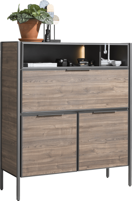 XOOON - Domani - Industrie - highboard 120 cm - 2-tueren + 1-klappe + 2-nischen (+ led)