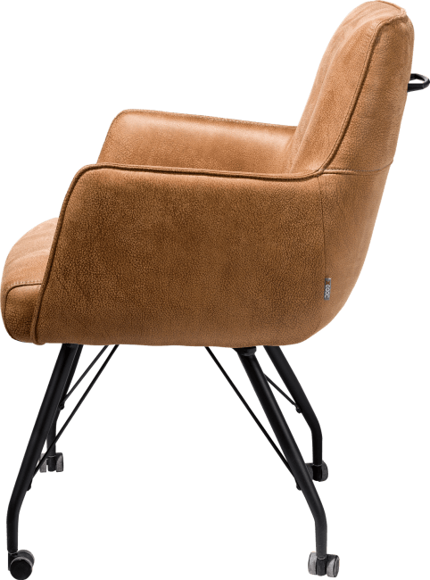 XOOON - Bodil - Industriel - fauteuil avec roulettes - ressorts ensaches + poignee - tissu rocky