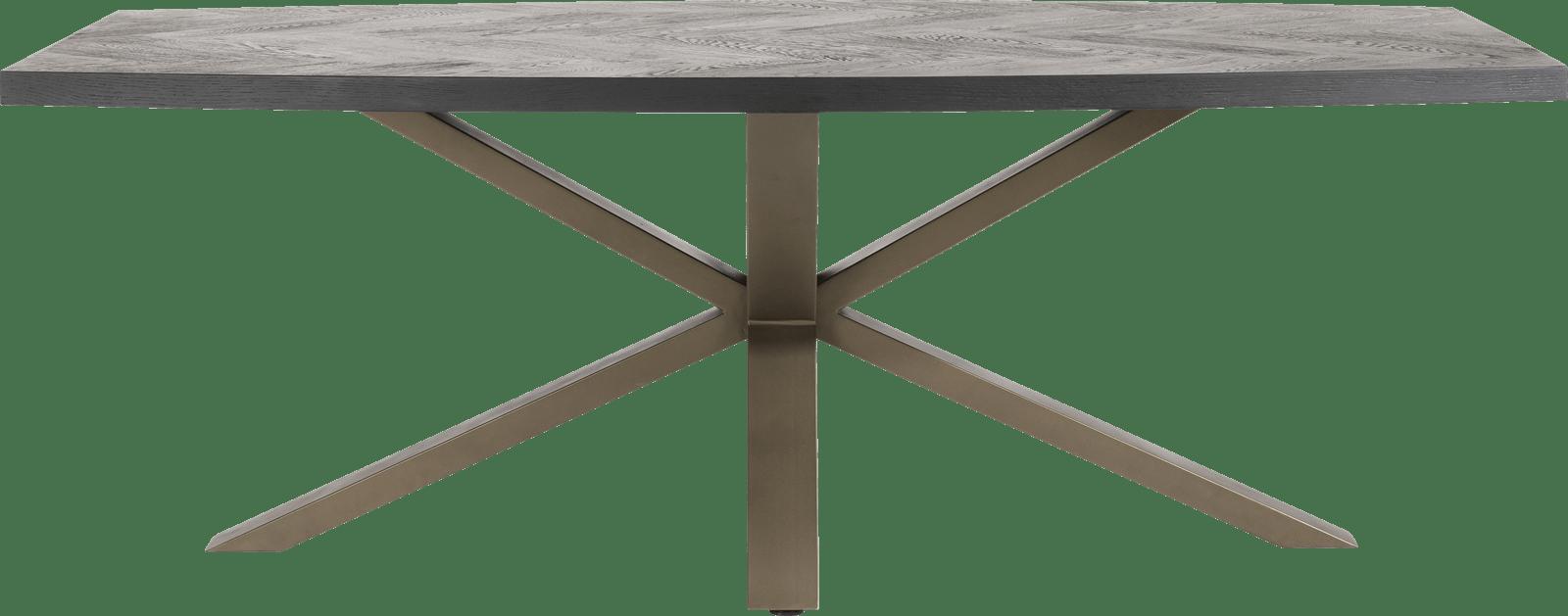 Henders & Hazel - Metaluxe - Industriel - table ovale 210 x 110 cm. - placage  fish bone