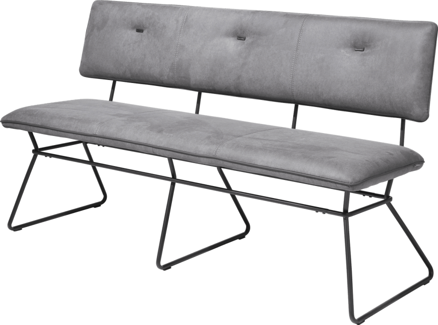 XOOON - Ollie - Scandinavian design - bench 160 cm - black frame - kibo anthracite + piping tatra anthrac.