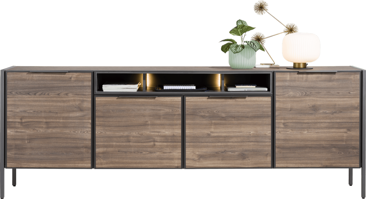 XOOON - Domani - Industrieel - dressoir 240 cm - 4-deuren + 3-niches (+ led)