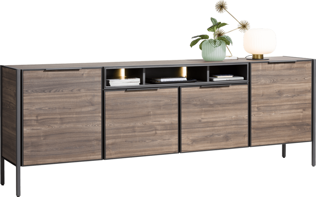 XOOON - Domani - Industrial - sideboard 240 cm - 4-doors + 3-niches (+ led)