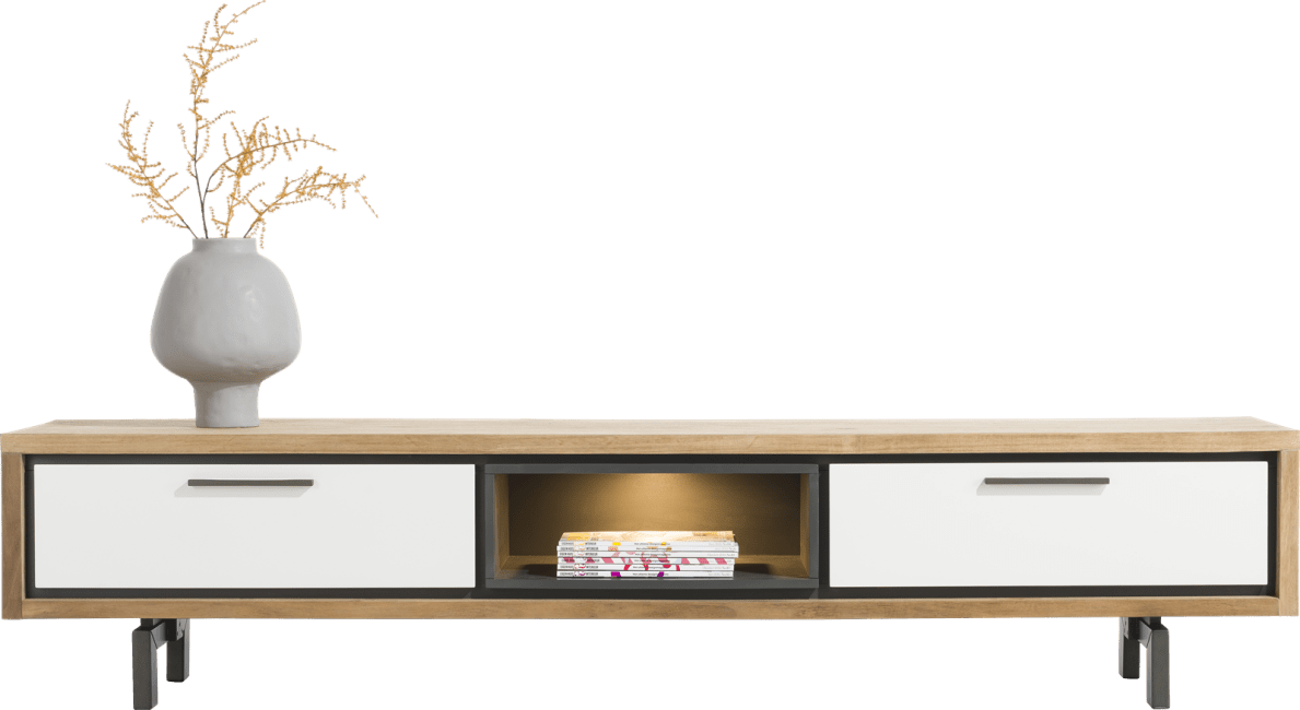 XOOON - Otta - Skandinavisches Design - tv-sideboard 210 cm. - 1-lade + 1-klappe + 1-nische (+ led)