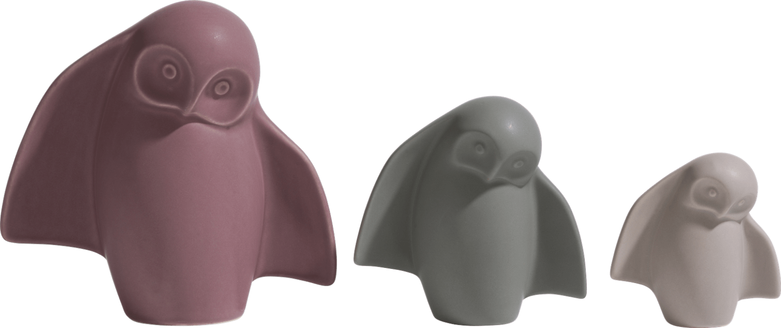 XOOON - Coco Maison - owlbert set of 3 figurines h15-11-8cm