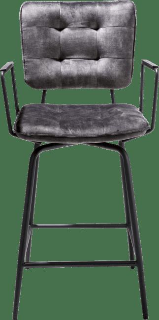 Henders & Hazel - Manou - Industrie - tresenstuhl mit armlehnen - off black - stoff karese