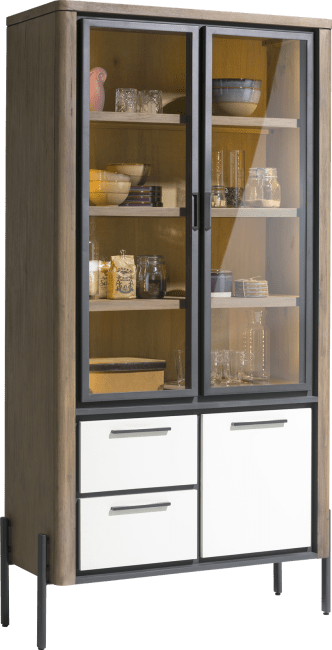 Henders and Hazel - Shirley - Modern - vitrine 100 cm - 2-glastueren + 1-tuer + 2-laden (+ led)