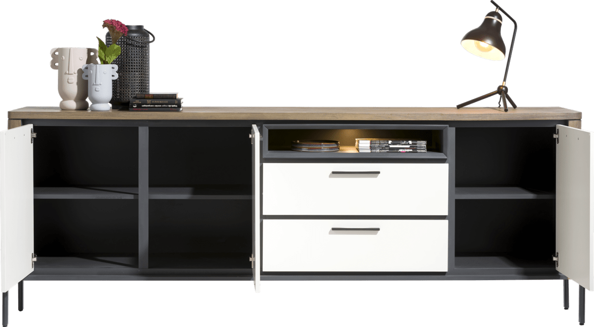 Henders and Hazel - Shirley - Modern - sideboard 240 cm - 3-tueren + 2-laden + 1-nische (+ led)